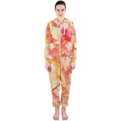 Monotype Art Pattern Leaves Colored Autumn Hooded Jumpsuit (ladies)