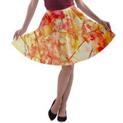 Monotype Art Pattern Leaves Colored Autumn A Line Skater Skirt