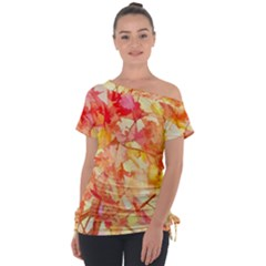 Monotype Art Pattern Leaves Colored Autumn Tie Up Tee by Jojostore