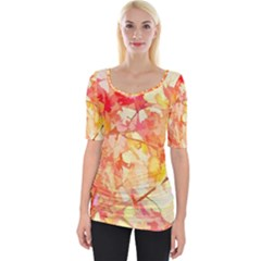 Monotype Art Pattern Leaves Colored Autumn Wide Neckline Tee