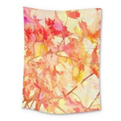Monotype Art Pattern Leaves Colored Autumn Medium Tapestry