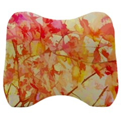 Monotype Art Pattern Leaves Colored Autumn Velour Head Support Cushion by Jojostore