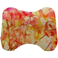 Monotype Art Pattern Leaves Colored Autumn Head Support Cushion by Jojostore