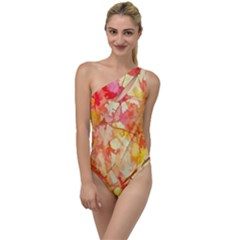 Monotype Art Pattern Leaves Colored Autumn To One Side Swimsuit