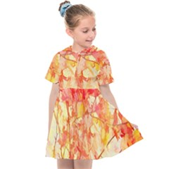 Monotype Art Pattern Leaves Colored Autumn Kids  Sailor Dress