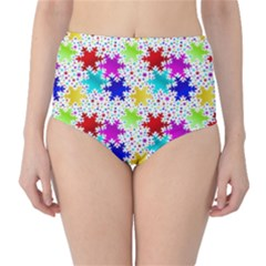Snowflake Pattern Repeated Classic High Waist Bikini Bottoms
