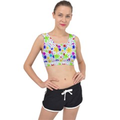 Snowflake Pattern Repeated V Back Sports Bra