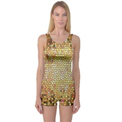 Yellow And Black Stained Glass Effect One Piece Boyleg Swimsuit