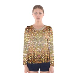 Yellow And Black Stained Glass Effect Women s Long Sleeve Tee by Jojostore