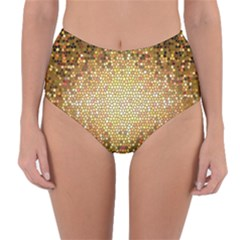 Yellow And Black Stained Glass Effect Reversible High Waist Bikini Bottoms