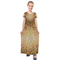 Yellow And Black Stained Glass Effect Kids  Short Sleeve Maxi Dress by Jojostore