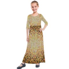 Yellow And Black Stained Glass Effect Kids  Quarter Sleeve Maxi Dress by Jojostore