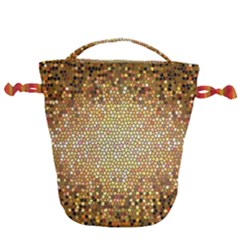 Yellow And Black Stained Glass Effect Drawstring Bucket Bag