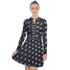 Abstract Of Metal Plate With Lines Long Sleeve Panel Dress