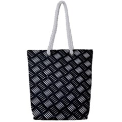 Abstract Of Metal Plate With Lines Full Print Rope Handle Tote (small)