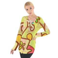 Abstract Faces Abstract Spiral Tie Up Tee