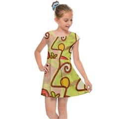 Abstract Faces Abstract Spiral Kids Cap Sleeve Dress by Jojostore