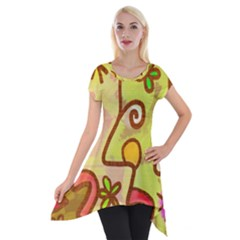 Abstract Faces Abstract Spiral Short Sleeve Side Drop Tunic