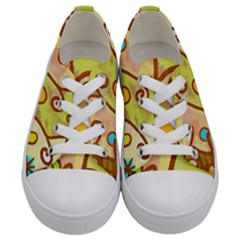 Abstract Faces Abstract Spiral Kids  Low Top Canvas Sneakers