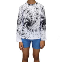 Fractal Black Spiral On White Kids  Long Sleeve Swimwear