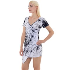 Fractal Black Spiral On White Short Sleeve Asymmetric Mini Dress by Jojostore