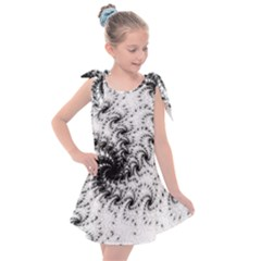 Fractal Black Spiral On White Kids  Tie Up Tunic Dress