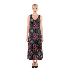 Abstract Black And Red Pattern Sleeveless Maxi Dress