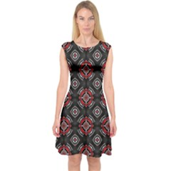 Abstract Black And Red Pattern Capsleeve Midi Dress