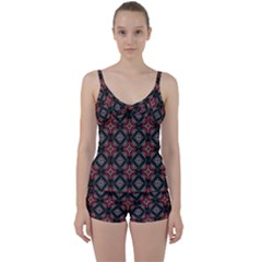 Abstract Black And Red Pattern Tie Front Two Piece Tankini