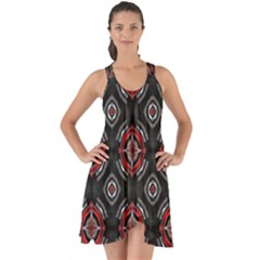 Abstract Black And Red Pattern Show Some Back Chiffon Dress
