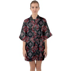 Abstract Black And Red Pattern Quarter Sleeve Kimono Robe by Jojostore