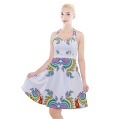 Fractal Kaleidoscope Of A Dragon Head Halter Party Swing Dress