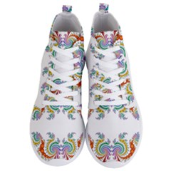 Fractal Kaleidoscope Of A Dragon Head Men s Lightweight High Top Sneakers