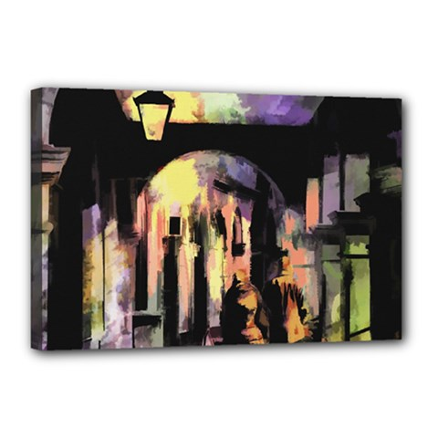 Street Colorful Abstract People Canvas 18  X 12  (stretched) by Jojostore