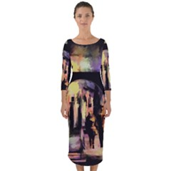 Street Colorful Abstract People Quarter Sleeve Midi Bodycon Dress by Jojostore