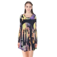 Street Colorful Abstract People Long Sleeve V Neck Flare Dress