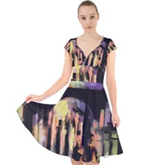 Street Colorful Abstract People Cap Sleeve Front Wrap Midi Dress