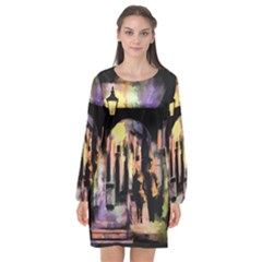 Street Colorful Abstract People Long Sleeve Chiffon Shift Dress
