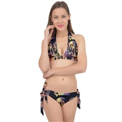 Street Colorful Abstract People Tie It Up Bikini Set