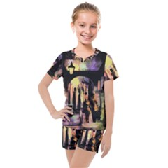 Street Colorful Abstract People Kids  Mesh Tee And Shorts Set by Jojostore