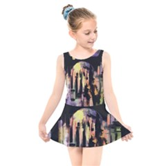 Street Colorful Abstract People Kids  Skater Dress Swimsuit