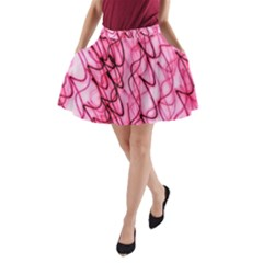 An Unusual Background Photo Of Black Swirls On Pink And Magenta A Line Pocket Skirt by Jojostore