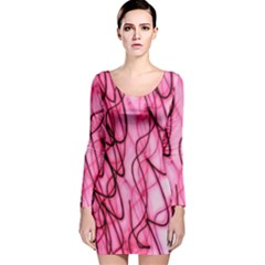 An Unusual Background Photo Of Black Swirls On Pink And Magenta Long Sleeve Velvet Bodycon Dress
