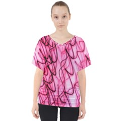 An Unusual Background Photo Of Black Swirls On Pink And Magenta V Neck Dolman Drape Top by Jojostore