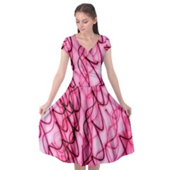 An Unusual Background Photo Of Black Swirls On Pink And Magenta Cap Sleeve Wrap Front Dress