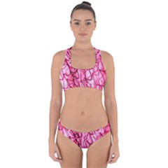 An Unusual Background Photo Of Black Swirls On Pink And Magenta Cross Back Hipster Bikini Set