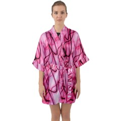 An Unusual Background Photo Of Black Swirls On Pink And Magenta Quarter Sleeve Kimono Robe