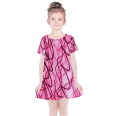 An Unusual Background Photo Of Black Swirls On Pink And Magenta Kids  Simple Cotton Dress