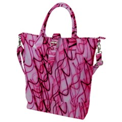An Unusual Background Photo Of Black Swirls On Pink And Magenta Buckle Top Tote Bag
