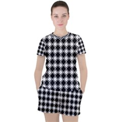 Square Diagonal Pattern Seamless Women s Tee And Shorts Set by Sapixe
